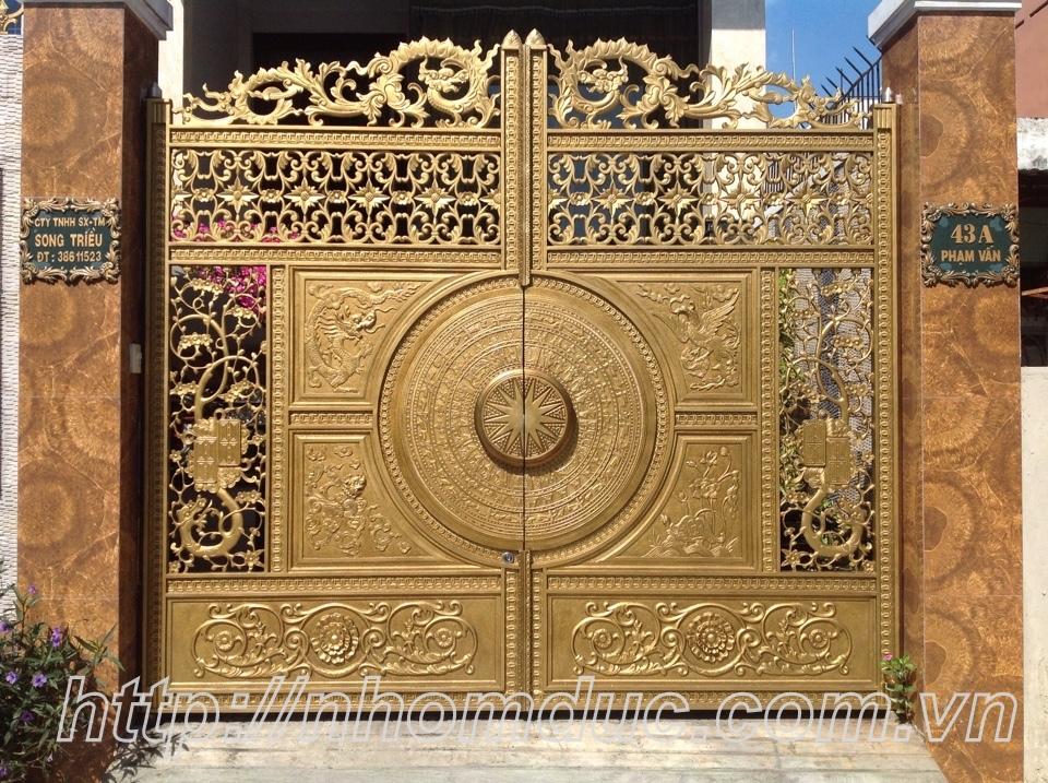 cổng nhôm đúc nguyên cánh, cổng nhôm đúc có phù điêu, cổng nhôm đúc