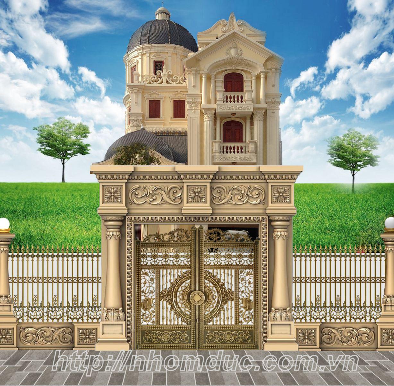Cổng nhôm đúc đẹp, mẫu cổng nhôm đúc biệt thự
