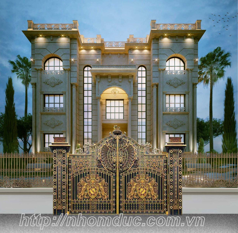 Cổng nhôm đúc đẹp, mẫu cổng nhôm đúc biệt thự đẳng cấp, chuyên sản xuất cổng nhôm đúc đẹp thể hiện đẳng cấp cổng nhôm đúc biệt thự hàng đầu