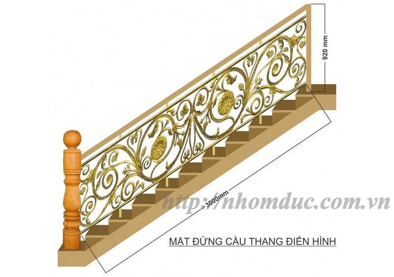 cầu thang nhôm đúc thẳng