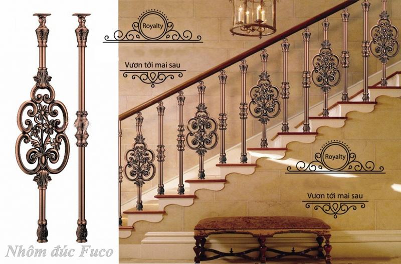Cầu thang nhôm đúc con tiện